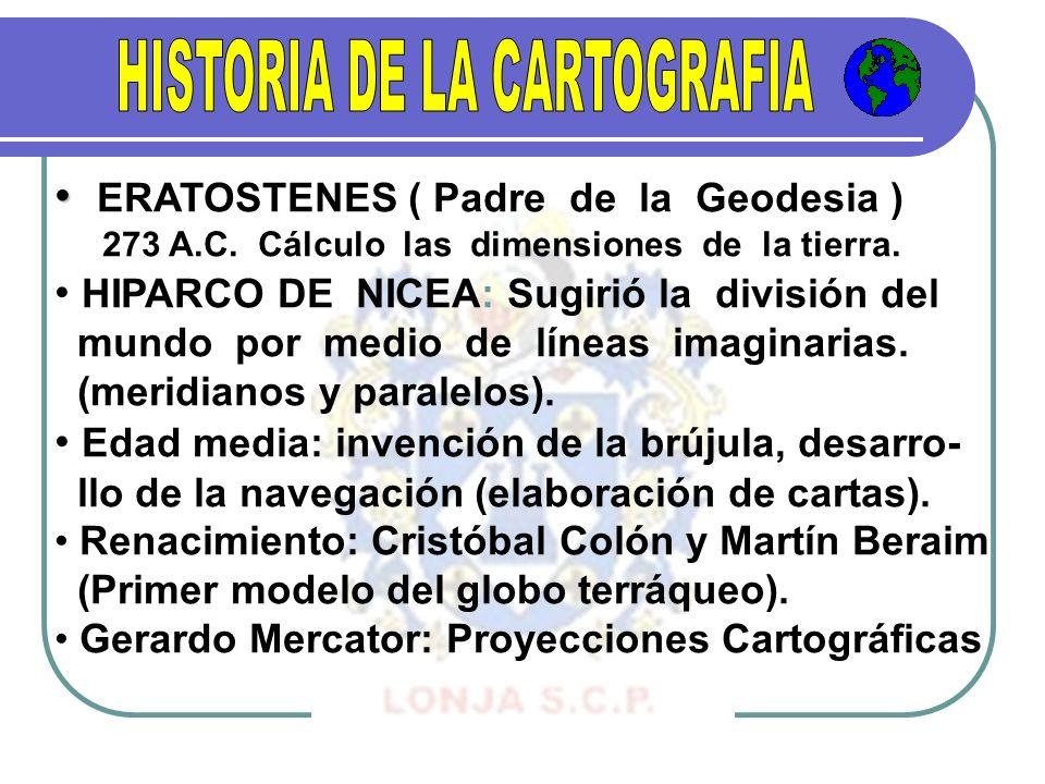 ERATOSTENES ( Padre de la Geodesia ) 273 A.C. Cálculo las dimensiones de la tierra. HIPARCO DE NICEA: Sugirió la división del mundo por medio de línea