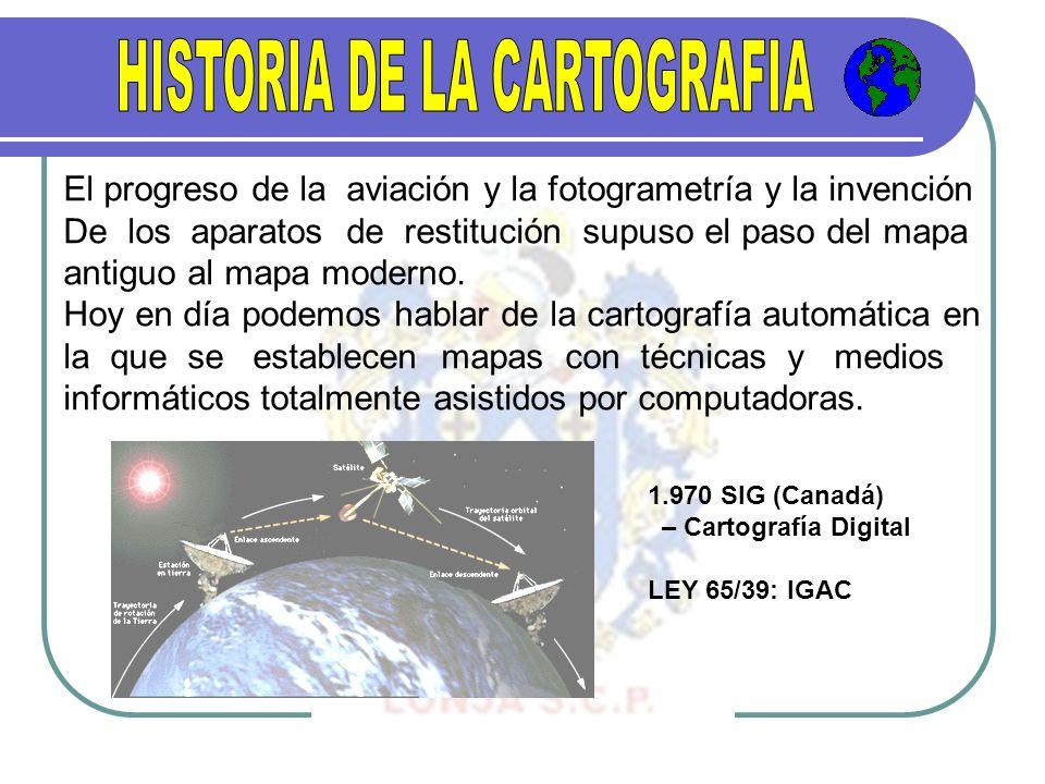 El progreso de la aviación y la fotogrametría y la invención De los aparatos de restitución supuso el paso del mapa antiguo al mapa moderno. Hoy en dí
