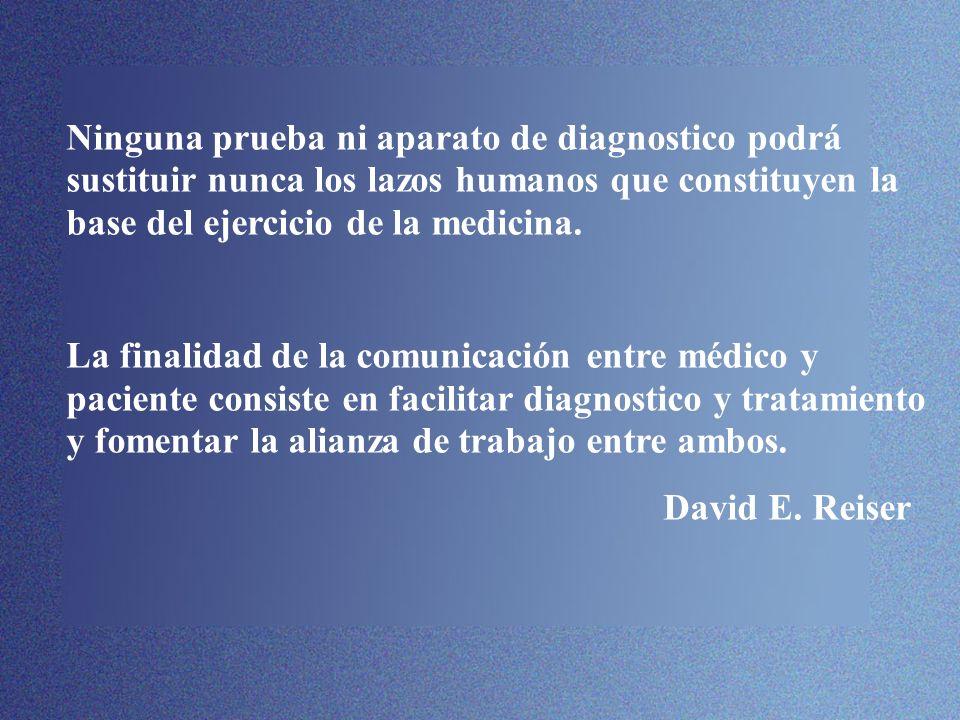 Ninguna prueba ni aparato de diagnostico podrá sustituir nunca los lazos humanos que constituyen la base del ejercicio de la medicina. La finalidad de