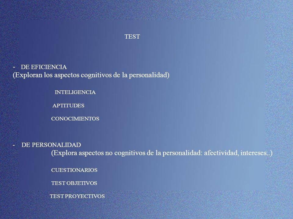 TEST - DE EFICIENCIA (Exploran los aspectos cognitivos de la personalidad) INTELIGENCIA APTITUDES CONOCIMIENTOS - DE PERSONALIDAD (Explora aspectos no