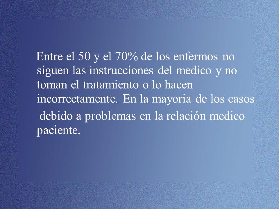 Entre el 50 y el 70% de los enfermos no siguen las instrucciones del medico y no toman el tratamiento o lo hacen incorrectamente. En la mayoria de los