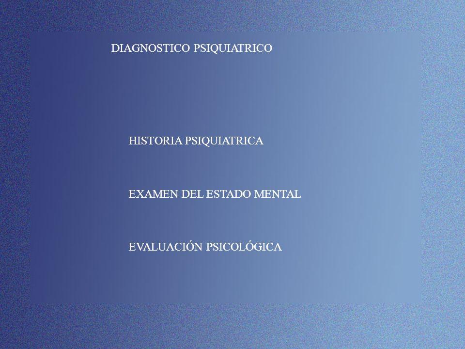 DIAGNOSTICO PSIQUIATRICO HISTORIA PSIQUIATRICA EXAMEN DEL ESTADO MENTAL EVALUACIÓN PSICOLÓGICA