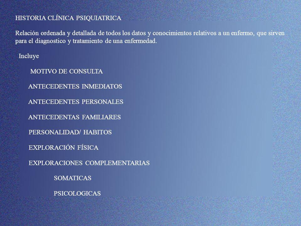 EXPLORACIONES COMPLEMENTARIAS ANÁLISIS DE SANGRE -DESCARTAR CUADROS ORGÁNICOS QUE CURSAN CON SÍNTOMAS PSÍQUICOS -ASEGURAR/ VERIFICAR LA TOMA DE LA MEDICACIÓN -CONTROLAR NIVELES TERAPÉUTICOS -DETECTAR CONTRAINDICACIONES TERAPÉUTICAS