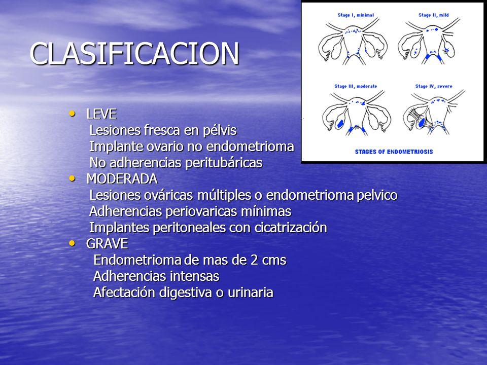 CLASIFICACION LEVE LEVE Lesiones fresca en pélvis Lesiones fresca en pélvis Implante ovario no endometrioma Implante ovario no endometrioma No adheren