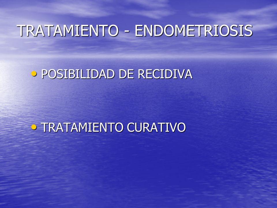 TRATAMIENTO - ENDOMETRIOSIS POSIBILIDAD DE RECIDIVA POSIBILIDAD DE RECIDIVA TRATAMIENTO CURATIVO TRATAMIENTO CURATIVO
