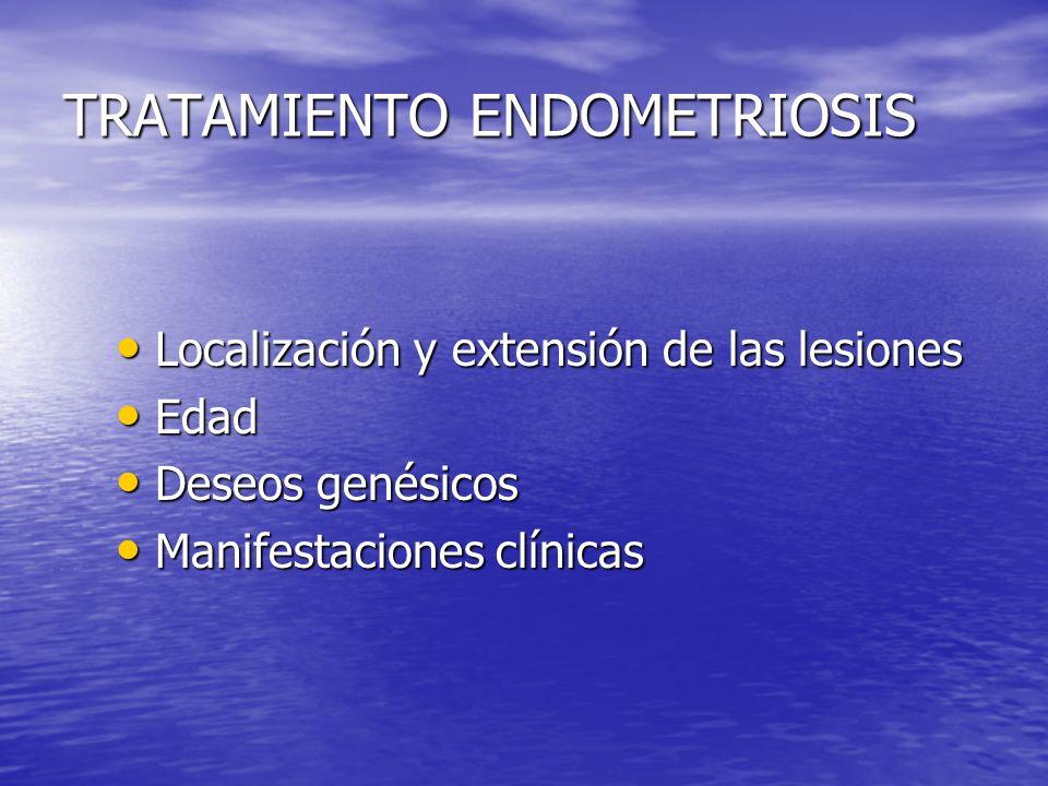 TRATAMIENTO ENDOMETRIOSIS Localización y extensión de las lesiones Localización y extensión de las lesiones Edad Edad Deseos genésicos Deseos genésico
