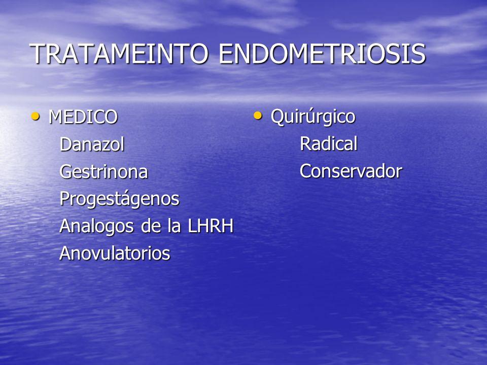 TRATAMEINTO ENDOMETRIOSIS MEDICO MEDICO Danazol Danazol Gestrinona Gestrinona Progestágenos Progestágenos Analogos de la LHRH Analogos de la LHRH Anov