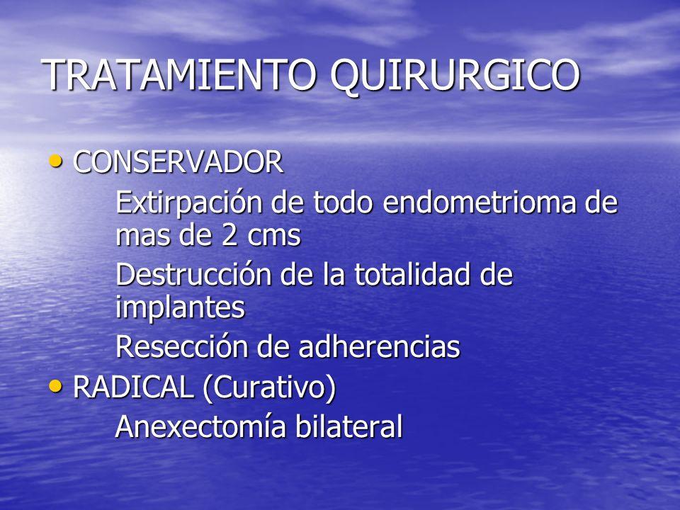TRATAMIENTO QUIRURGICO CONSERVADOR CONSERVADOR Extirpación de todo endometrioma de mas de 2 cms Destrucción de la totalidad de implantes Resección de