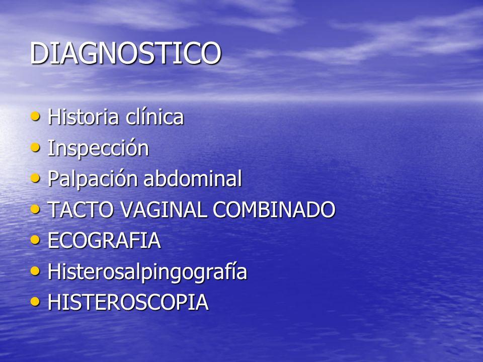DIAGNOSTICO Historia clínica Historia clínica Inspección Inspección Palpación abdominal Palpación abdominal TACTO VAGINAL COMBINADO TACTO VAGINAL COMB