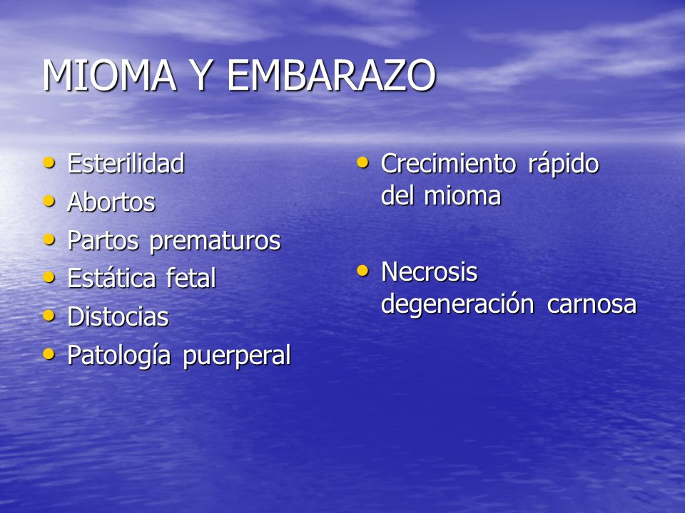 MIOMA Y EMBARAZO Esterilidad Esterilidad Abortos Abortos Partos prematuros Partos prematuros Estática fetal Estática fetal Distocias Distocias Patolog