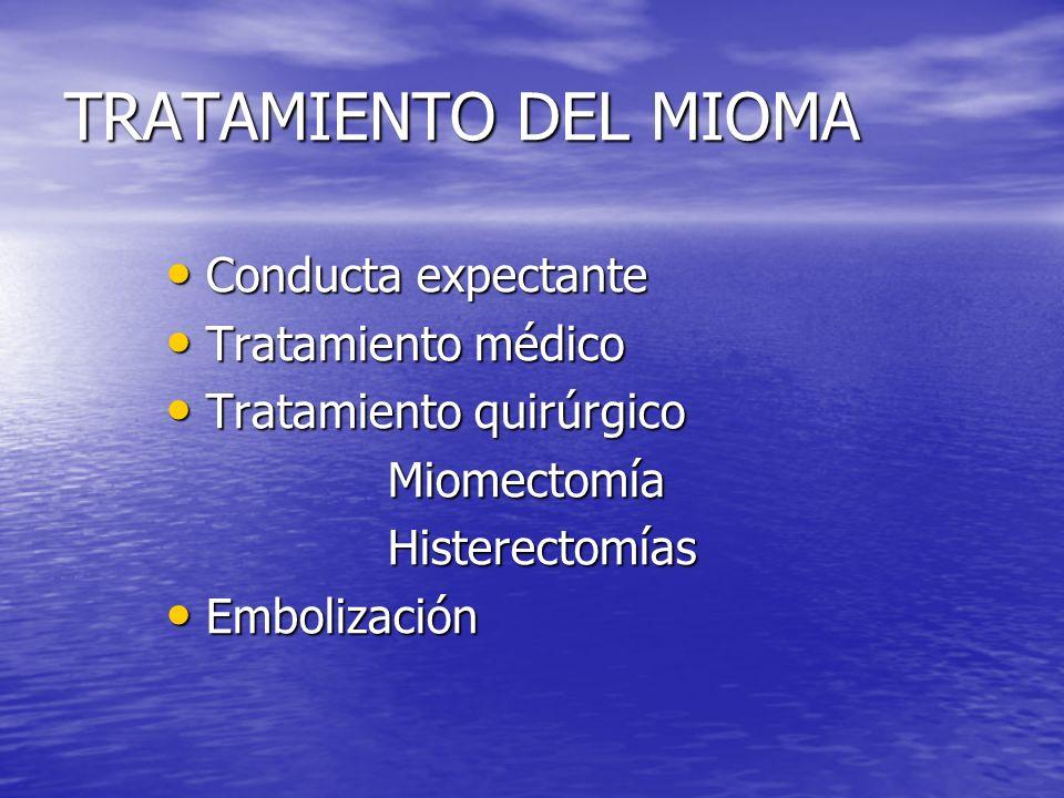 TRATAMIENTO DEL MIOMA Conducta expectante Conducta expectante Tratamiento médico Tratamiento médico Tratamiento quirúrgico Tratamiento quirúrgico Miom