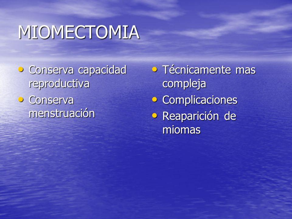 MIOMECTOMIA Conserva capacidad reproductiva Conserva capacidad reproductiva Conserva menstruación Conserva menstruación Técnicamente mas compleja Técn