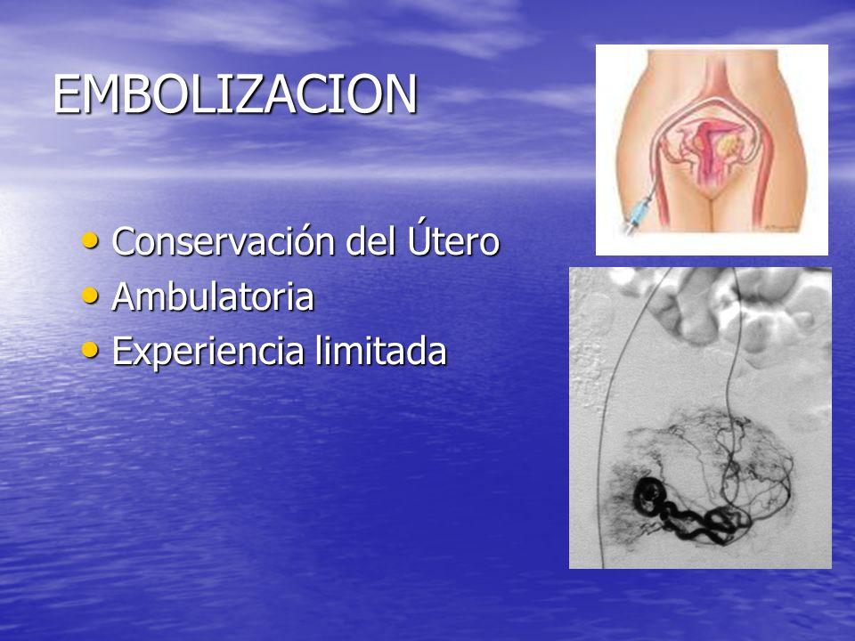EMBOLIZACION Conservación del Útero Conservación del Útero Ambulatoria Ambulatoria Experiencia limitada Experiencia limitada
