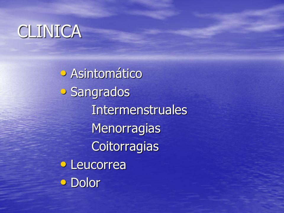 CLINICA Asintomático Asintomático Sangrados Sangrados Intermenstruales Intermenstruales Menorragias Menorragias Coitorragias Coitorragias Leucorrea Le
