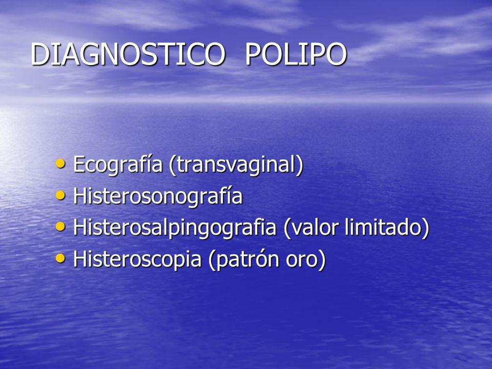 DIAGNOSTICO POLIPO Ecografía (transvaginal) Ecografía (transvaginal) Histerosonografía Histerosonografía Histerosalpingografia (valor limitado) Hister