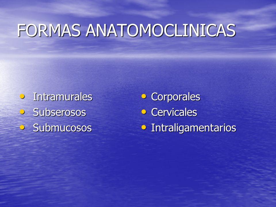 FORMAS ANATOMOCLINICAS Intramurales Intramurales Subserosos Subserosos Submucosos Submucosos Corporales Corporales Cervicales Cervicales Intraligament