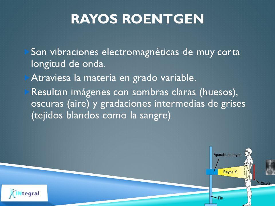 RAYOS ROENTGEN Son vibraciones electromagnéticas de muy corta longitud de onda. Atraviesa la materia en grado variable. Resultan imágenes con sombras