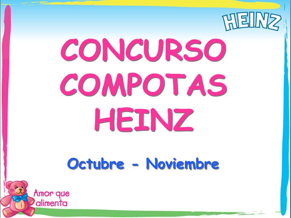 Concurso Fuerza de Ventas – Octubre y Noviembre Objetivos Incremento en el volumen de ventas de Compotas Heinz durante los meses de Octubre y Noviembre de 2010.