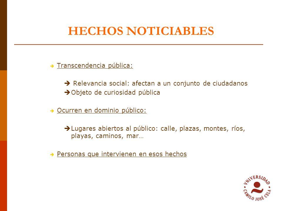 HECHOS NOTICIABLES Transcendencia pública: Relevancia social: afectan a un conjunto de ciudadanos Objeto de curiosidad pública Ocurren en dominio públ