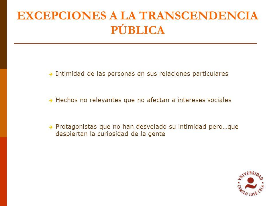PERSONAS COMO NOTICIAS Personas públicas Personas con notoriedad pública Personas privadas