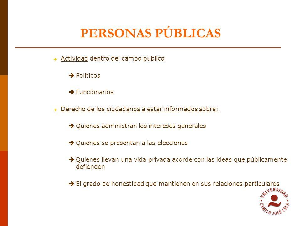 PERSONAS PÚBLICAS Actividad dentro del campo público Políticos Funcionarios Derecho de los ciudadanos a estar informados sobre: Quienes administran lo
