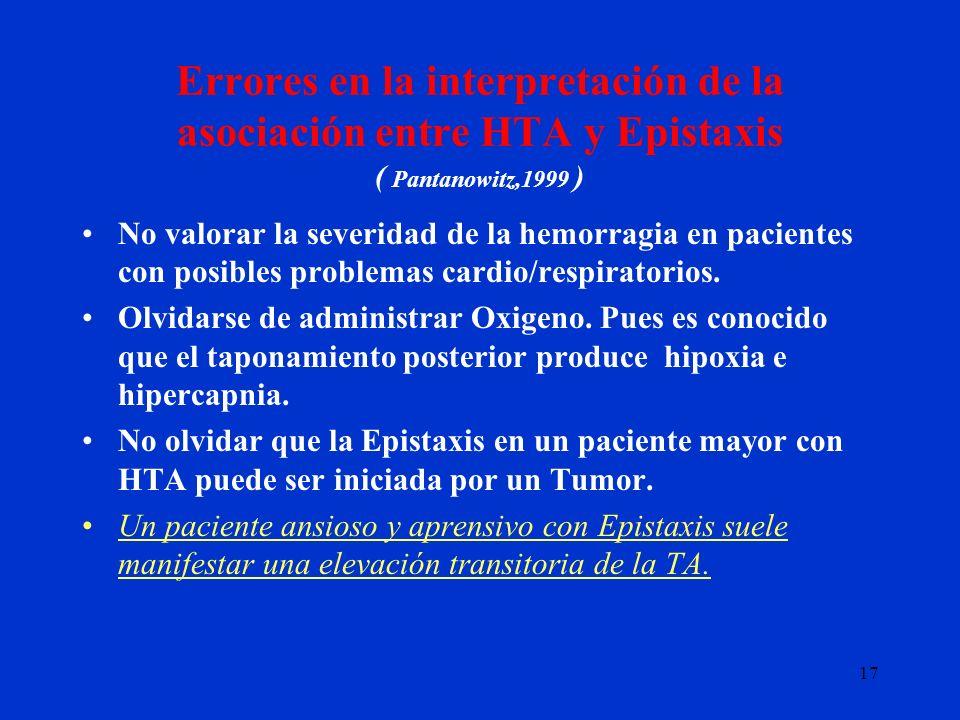17 Errores en la interpretación de la asociación entre HTA y Epistaxis ( Pantanowitz,1999 ) No valorar la severidad de la hemorragia en pacientes con