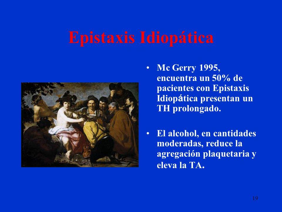 19 Epistaxis Idiopática Mc Gerry 1995, encuentra un 50% de pacientes con Epistaxis Idiop á tica presentan un TH prolongado. El alcohol, en cantidades