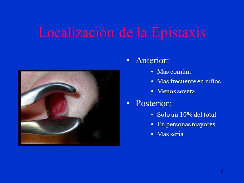 9 Causas de las epistaxis ( Pollice and Yoder, 1997) Factores locales Factores sistémicos Trauma nasal Inflamación Alteraciones del tabique Cuerpos extraños.