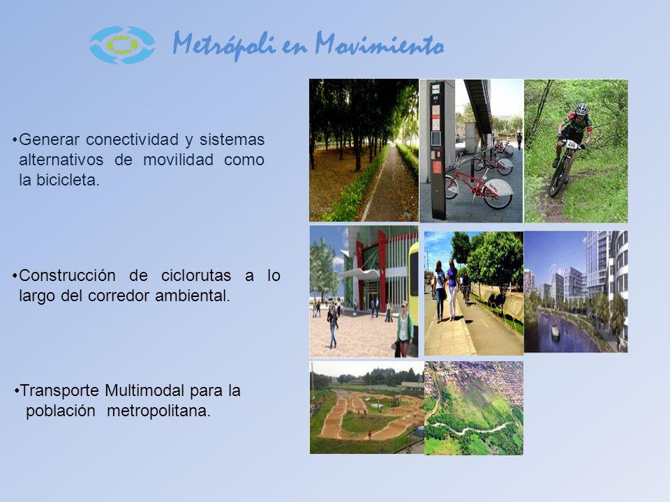 Metrópoli en Movimiento Generar conectividad y sistemas alternativos de movilidad como la bicicleta. Construcción de ciclorutas a lo largo del corredo