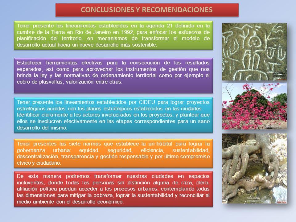 CONCLUSIONES Y RECOMENDACIONES Tener presente los lineamientos establecidos en la agenda 21 definida en la cumbre de la Tierra en Rio de Janeiro en 19