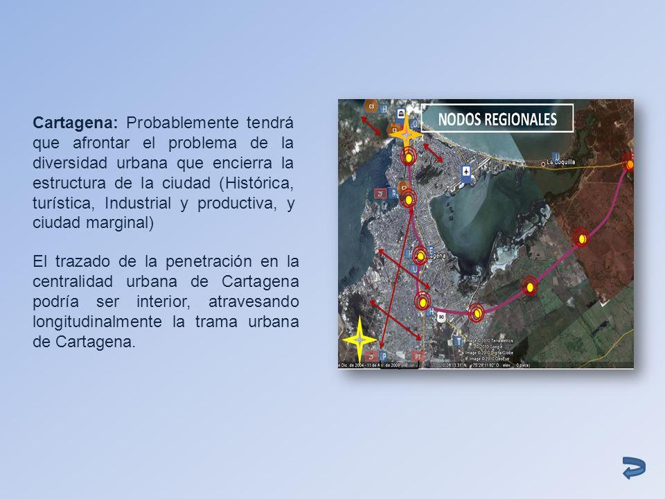 Cartagena: Probablemente tendrá que afrontar el problema de la diversidad urbana que encierra la estructura de la ciudad (Histórica, turística, Indust