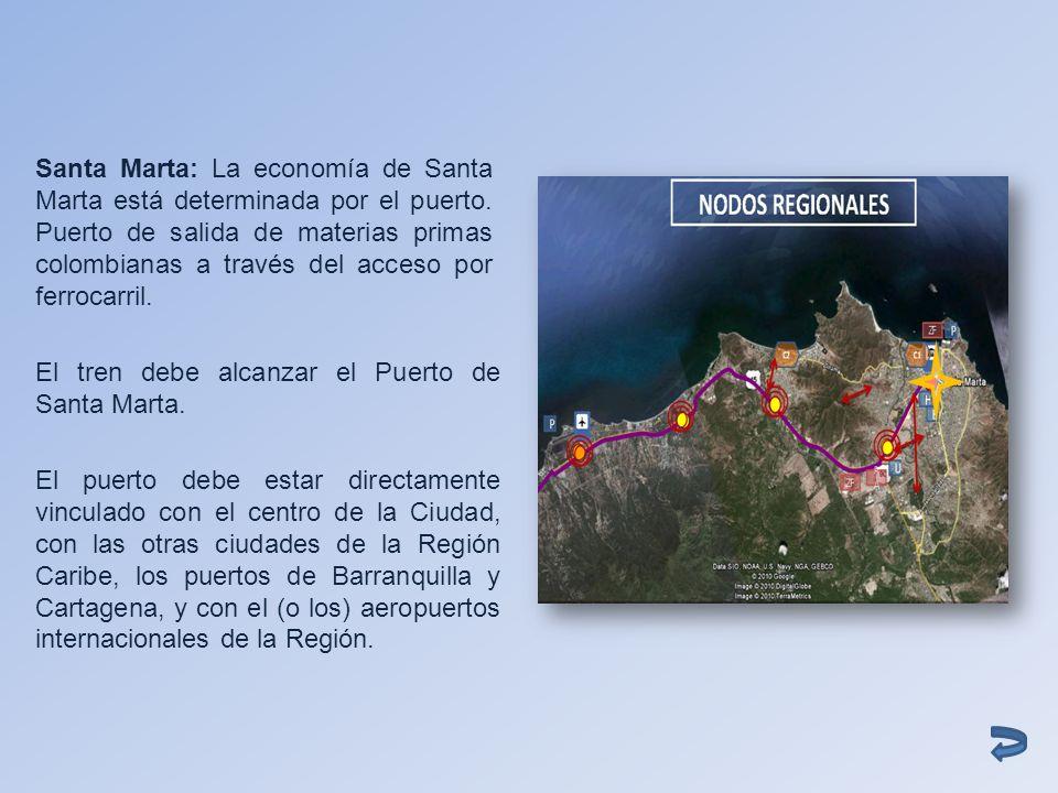 Santa Marta: La economía de Santa Marta está determinada por el puerto. Puerto de salida de materias primas colombianas a través del acceso por ferroc