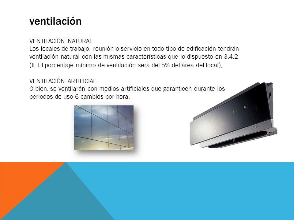 ventilación VENTILACIÓN NATURAL Los locales de trabajo, reunión o servicio en todo tipo de edificación tendrán ventilación natural con las mismas cara