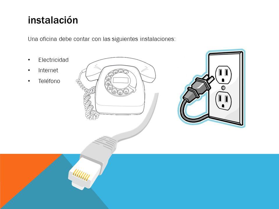 instalación Una oficina debe contar con las siguientes instalaciones: Electricidad Internet Teléfono