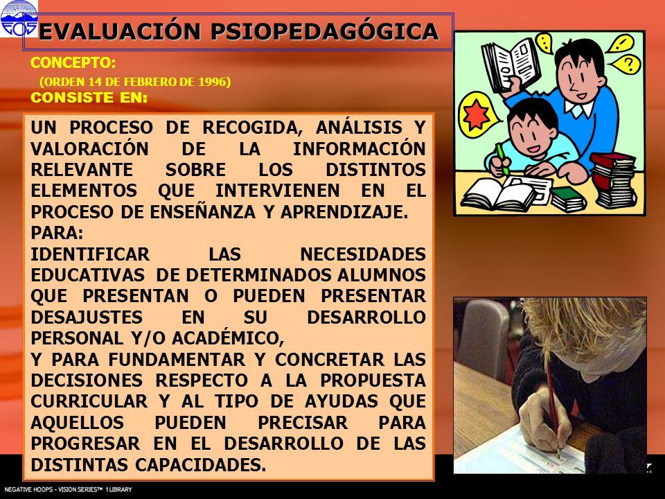 CONCEPTO: (ORDEN 14 DE FEBRERO DE 1996) CONSISTE EN: UN PROCESO DE RECOGIDA, ANÁLISIS Y VALORACIÓN DE LA INFORMACIÓN RELEVANTE SOBRE LOS DISTINTOS ELE