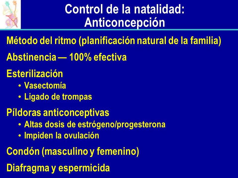 Control de la natalidad: Anticoncepción Método del ritmo (planificación natural de la familia) Abstinencia 100% efectiva Esterilización Vasectomía Lig