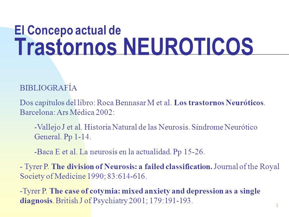 El Concepo actual de Trastornos NEUROTICOS BIBLIOGRAFÍA Dos capítulos del libro: Roca Bennasar M et al. Los trastornos Neuróticos. Barcelona: Ars Médi