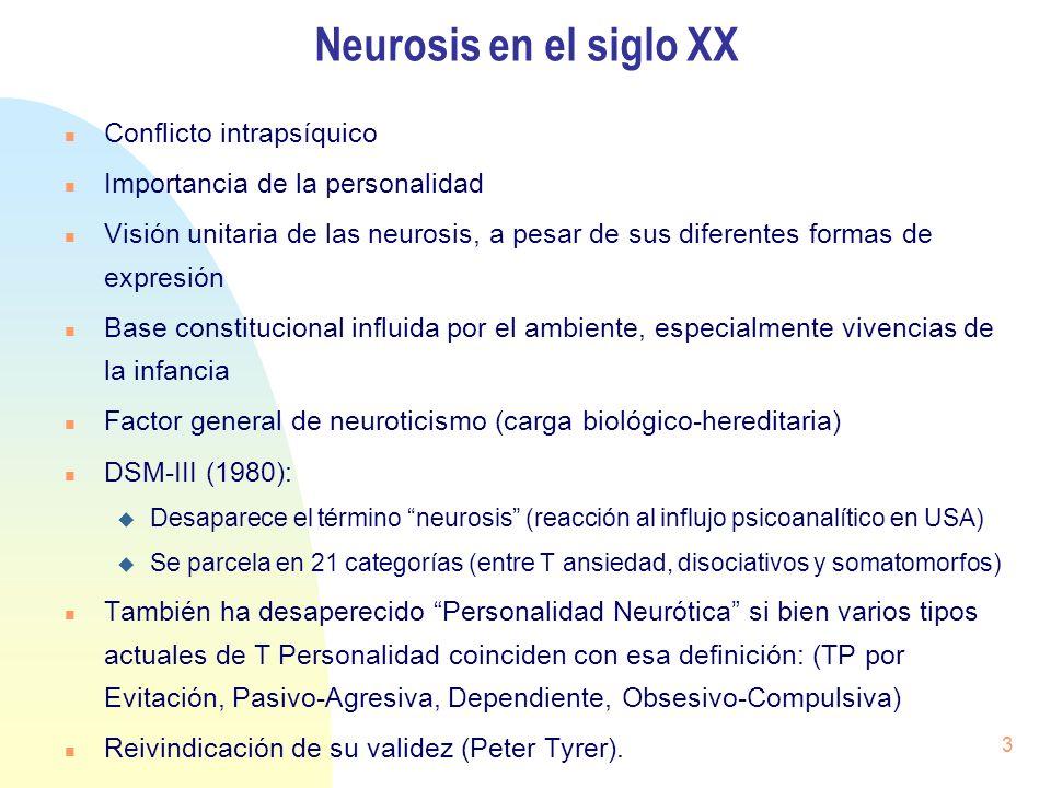 Neurosis en el siglo XX Conflicto intrapsíquico Importancia de la personalidad Visión unitaria de las neurosis, a pesar de sus diferentes formas de ex