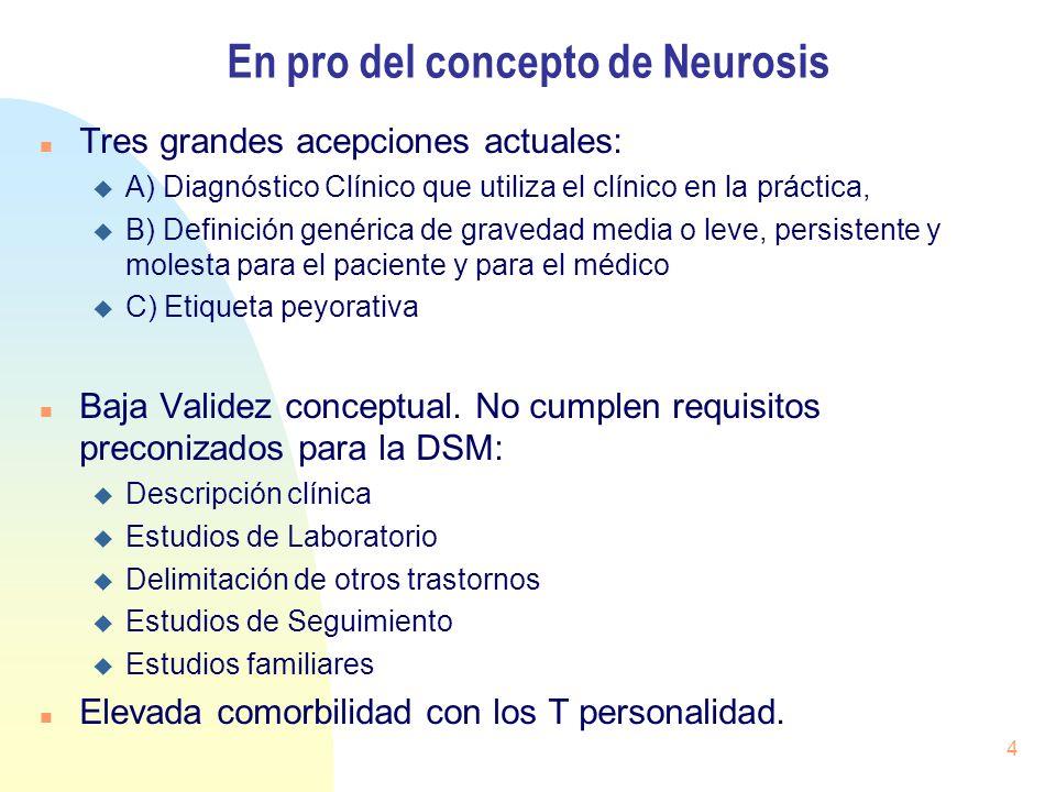 En pro del concepto de Neurosis Tres grandes acepciones actuales: A) Diagnóstico Clínico que utiliza el clínico en la práctica, B) Definición genérica