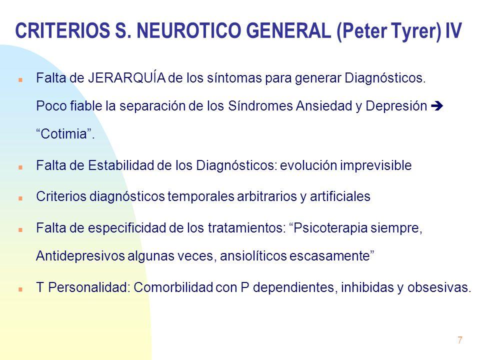 CRITERIOS S. NEUROTICO GENERAL (Peter Tyrer) IV Falta de JERARQUÍA de los síntomas para generar Diagnósticos. Poco fiable la separación de los Síndrom