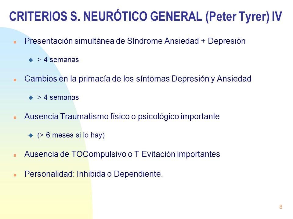 CRITERIOS S. NEURÓTICO GENERAL (Peter Tyrer) IV Presentación simultánea de Síndrome Ansiedad + Depresión > 4 semanas Cambios en la primacía de los sín