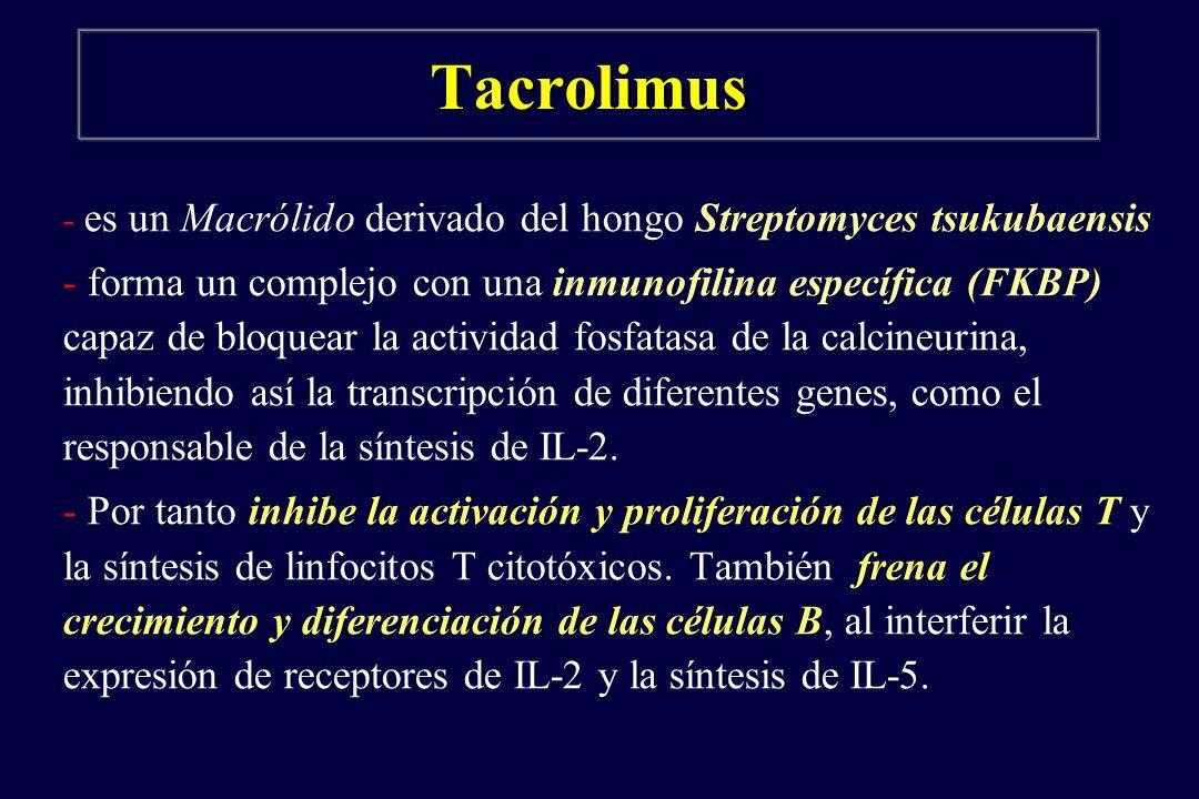 Tacrolimus - es un Macrólido derivado del hongo Streptomyces tsukubaensis - forma un complejo con una inmunofilina específica (FKBP) capaz de bloquear