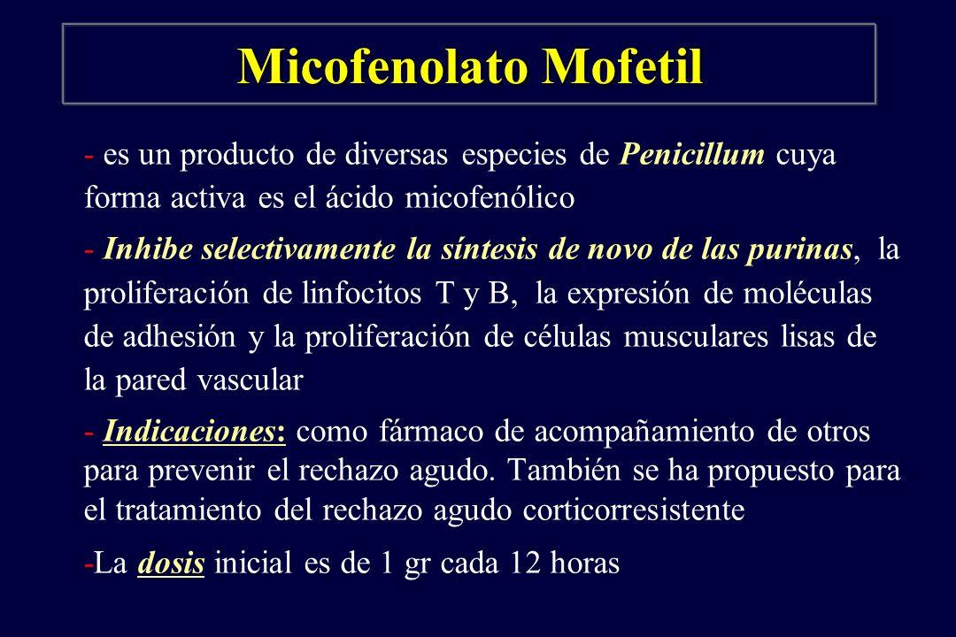 Micofenolato Mofetil - es un producto de diversas especies de Penicillum cuya forma activa es el ácido micofenólico - Inhibe selectivamente la síntesi