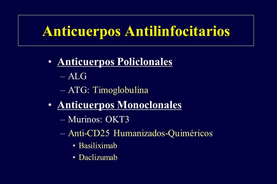 Anticuerpos Antilinfocitarios Anticuerpos Policlonales –ALG –ATG: Timoglobulina Anticuerpos Monoclonales –Murinos: OKT3 –Anti-CD25 Humanizados-Quiméri