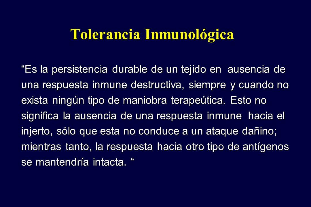 Es la persistencia durable de un tejido en ausencia de una respuesta inmune destructiva, siempre y cuando no exista ningún tipo de maniobra terapeútic