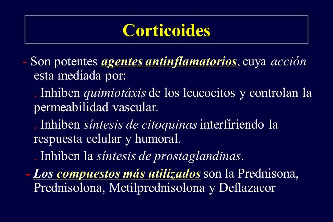 Corticoides - Son potentes agentes antinflamatorios, cuya acción esta mediada por:. Inhiben quimiotáxis de los leucocitos y controlan la permeabilidad