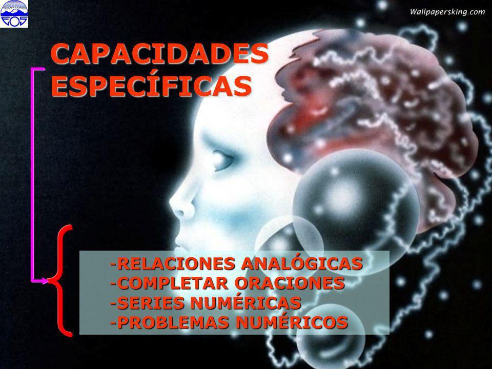 CAPACIDADESESPECÍFICAS -RELACIONES ANALÓGICAS -COMPLETAR ORACIONES -SERIES NUMÉRICAS -PROBLEMAS NUMÉRICOS