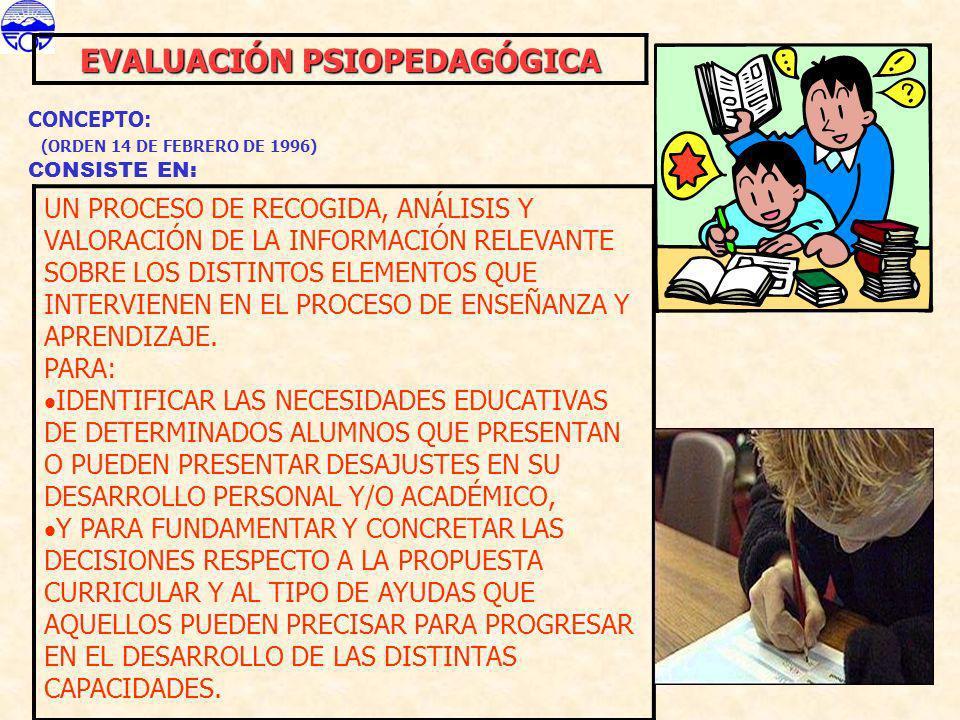 EVALUACIÓN PSIOPEDAGÓGICA CONCEPTO: (ORDEN 14 DE FEBRERO DE 1996) CONSISTE EN: UN PROCESO DE RECOGIDA, ANÁLISIS Y VALORACIÓN DE LA INFORMACIÓN RELEVAN