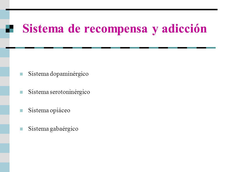 Sistema de recompensa y adicción Sistema dopaminérgico Sistema serotoninérgico Sistema opiáceo Sistema gabaérgico