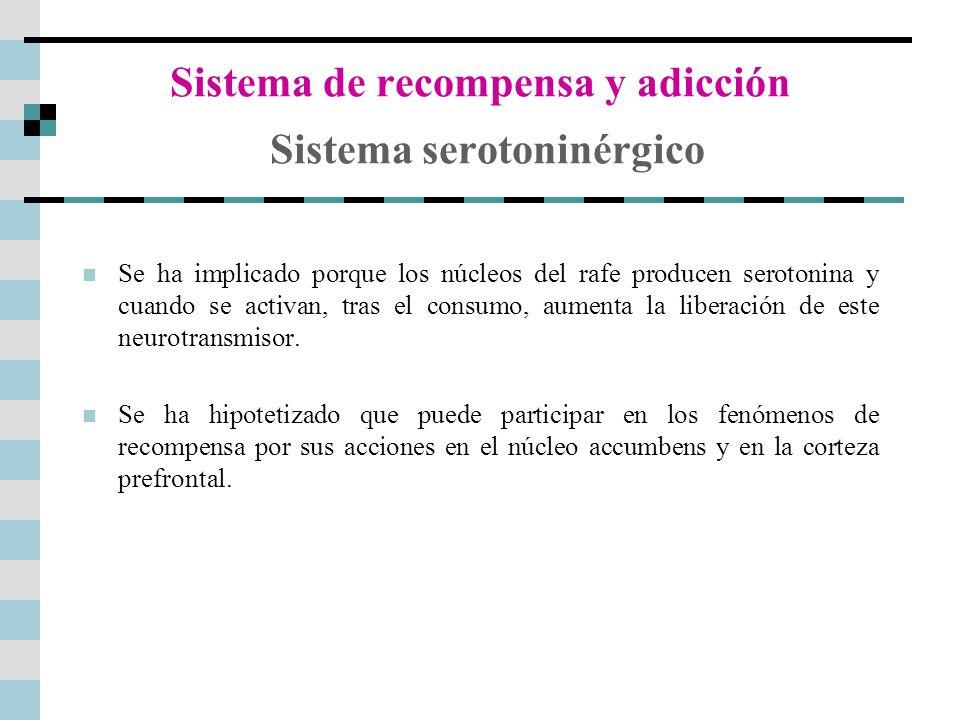 Sistema de recompensa y adicción Sistema serotoninérgico Se ha implicado porque los núcleos del rafe producen serotonina y cuando se activan, tras el